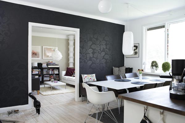 Черный дизайн столовой