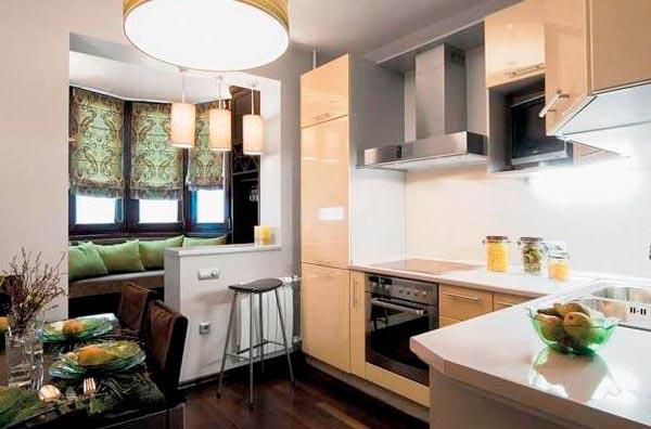 Грамотное расширение пространства: кухня, совмещенная с балконом (фото)