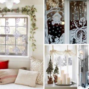 Оригинальное украшение окна на Новый год