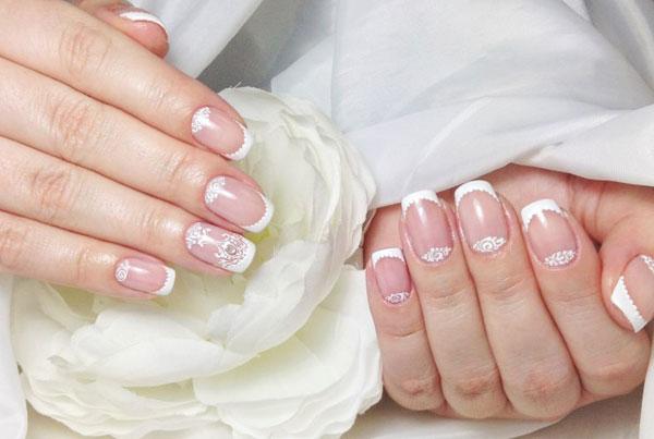 Свадебный маникюр на свои, короткие и нарощенные ногти