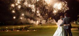 Свадебный фейерверк в честь праздника любви
